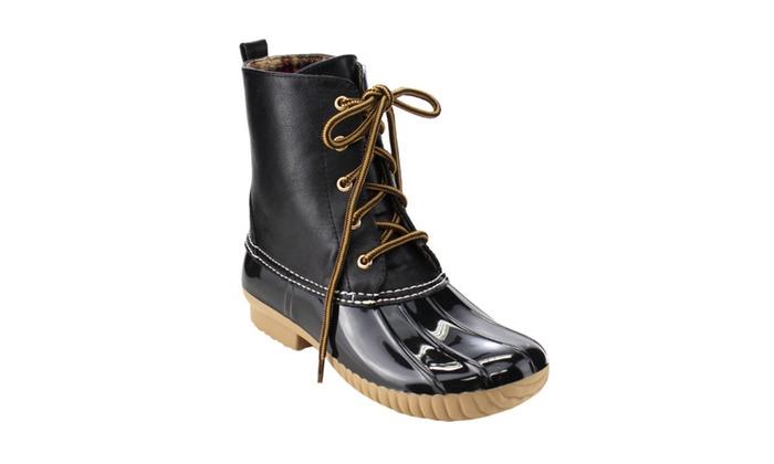 Beston FF56 Women's Lace Up Combat Style Duck Rain Boots