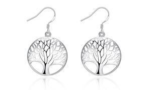 Silver Plated Filigree Circular Tree Of Life Earrings