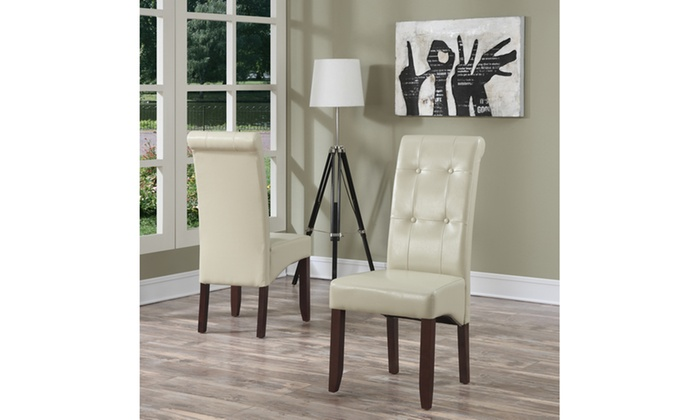 Cosmopolitan Faux Leather Parson Dining Chair In Satin Cream Set Of 2