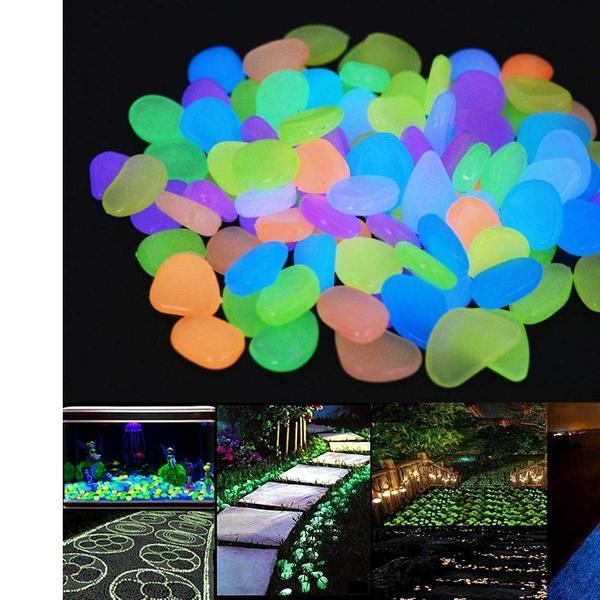 100 Glow in The Dark Stones Fish Tank Aquarium Garden Pebbles Rock Walkway Decor