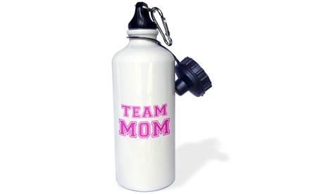 Water Bottle Team Mom hot pink girly retro sporty or college sports font gifts