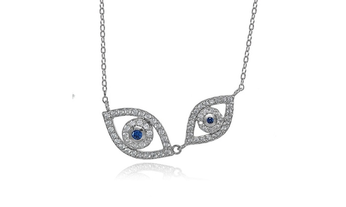 Sterling Silver Cubic Zirconia & Created Blue Sapphire Double Evil Eye  Necklace