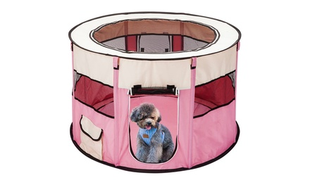 """45"""" Circular Portable Foldable Kennel Oxford Cloth & Mesh Pet Playpen Fence"""