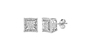 1/4CTTW Diamond Square Shaped Studs In Sterling Silver