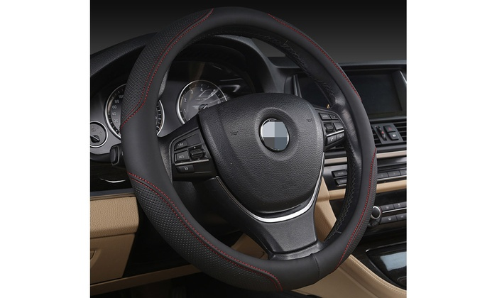 UNIVERSAL Black Red Steering Wheel Cover Stylish Soft QUALITY PU LEATHER 38cm