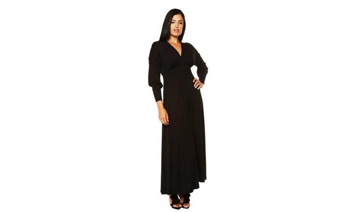 24/7 Comfort Apparel Women's Long Sleeve Empire Maxi Dress
