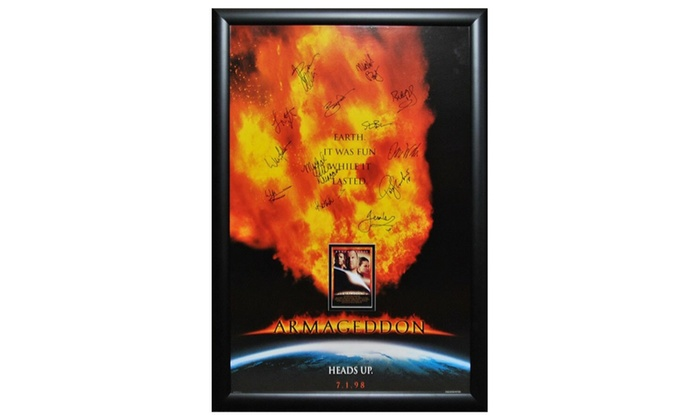 armageddon signed movie poster in wood frame with coa groupon