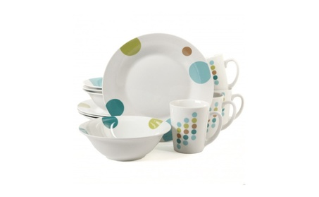 Gibson Retro Specks 12 Pc Dinnerware Set White Color with Dots photo