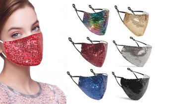 6 Pack : Sequined Cotton Fashion Face Masks With Adjustable Ear Loops