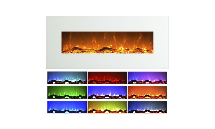 Wall Mounted Electric Fireplace With Color Changing Led