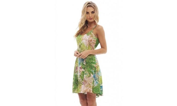 AX Paris Leaf Printed Strap Summer  Dress