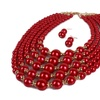 Bohemian Multilayer Pearl Statement Necklace Earring Set for Women