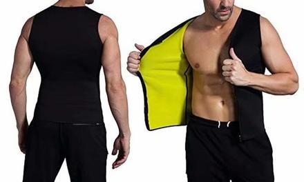 Men Waist Trainer Vest Hot Neoprene Sauna Body Shaper Zipper Workout Shirt