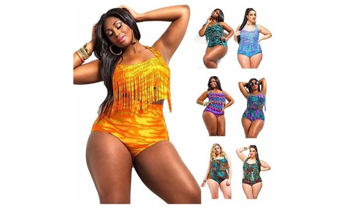 1454a181936 Women Plus Size Fringe Halter Print Tassel Tankini Two Piece Swimsuits