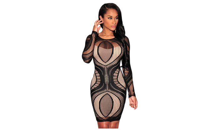 Women's Black Lace Nude Illusion Long Sleeves Bodycon Dress