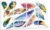 Hand-drawn Feather Set Watercolor Metal Wall Art 48x28 4 Panels