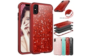 Bling Shockproof Glitter Hard Full Case Cover Protective For iPhone X XS Max XR