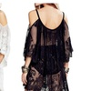 Women Sexy Off Shoulder Strap Floral Lace Crochet Perspective Dresses