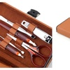 10 Pieces Useful Manicure Tool Set Deluxe Brown Carrying Case