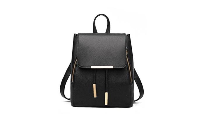 Women New PU Leather Solid Leisure Flap Backpack Shoulder Bag
