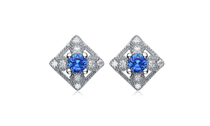 Relaveno Sterling Silver Clear And Bright Blue Cubic Zirconia Earrings