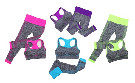 Women's 2 pc Breathable Neon Marled Yoga Sports Bra and Capri Leggings 4171a2ac-f0ab-4fe5-af14-9c349ecf603a
