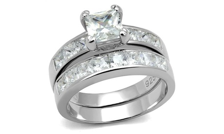 Sterling Silver .925 Princess Cut Cubic Zircoina Wedding Ring Set