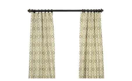 """Maui Taupe Faux Silk Jacquard Curtain 50"""" Wide Each Panel a7995ad6-97ba-4f80-b2ad-697f19bd8d9b"""