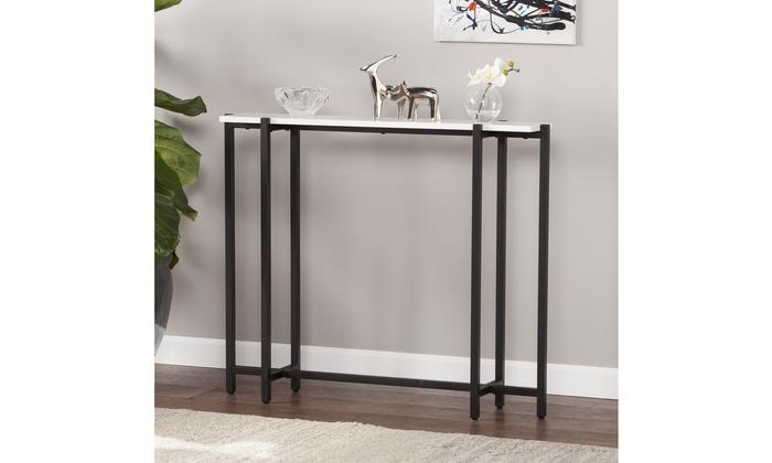 Helena Contemporary Narrow Console Table   Black W/ White ...