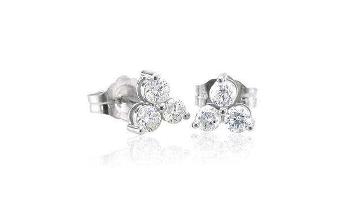 8582cc91d 14k White Gold 3 Stone Diamond Stud Earrings (1/3 Carat) | Groupon