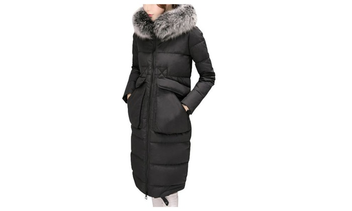 Women's Zip Closure Long Sleeve Faux Fur Collar Down Coat
