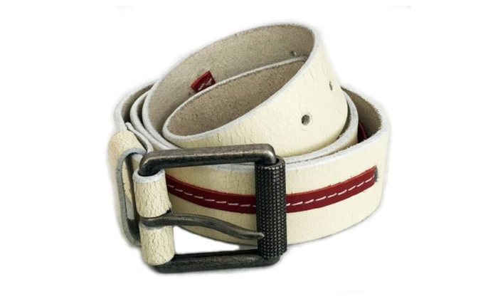 Genuine White with Red Stripe Leather Belt