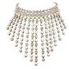 Retro Rhinestone Tessal Chocker Maxi Pearl Necklace for Women