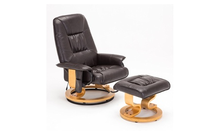 RECLINER GENIUS Real Leather Recliner Chair with Ottoman, Brown 2c93eeec-c8cd-4d93-accd-4dc7a64eab5f