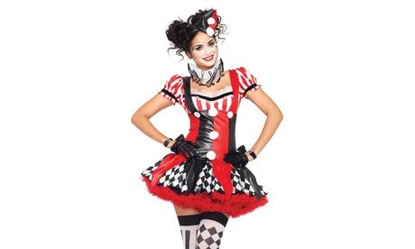 Leg Avenue Women's Harlequin Clown Set Suspender Dress Sexy Halloween Costume