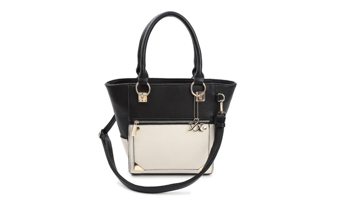 Hue & Ash Two Tone Classic Structured Top Handle Bag HAN174