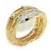 Rhinestone Curved Stretch Snake Cuff Bangle Bracelet