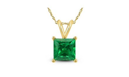 4 Cttw Princess Emerald 18 Inch Necklace In 24k Gold