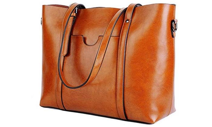 7273f85cc39 ... Bag Women s Vintage Style Soft Leather Work Tote Large Shoulder ...