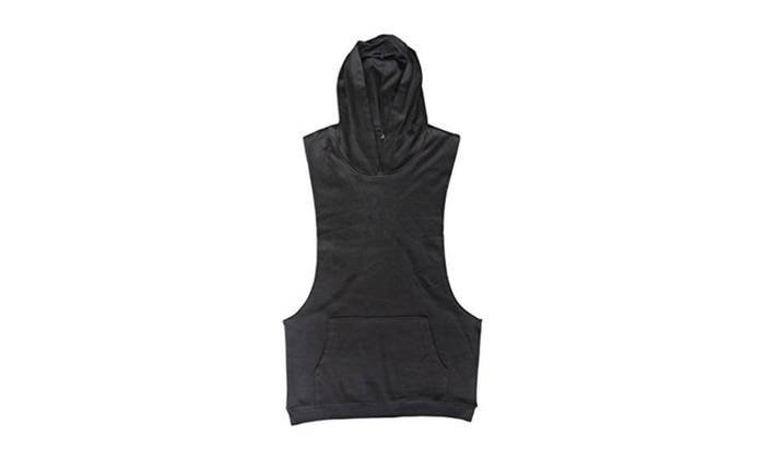 Mens Sleeveless Hoodie T-Shirt Hooded Tank Top Cotton Hoodies Tee