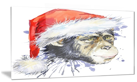 Monkey Santa Clause Animal Metal Wall Art 28x12 14dd7420-0aa9-4fea-8cee-813013625be7