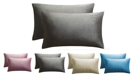 Set of 2 Velvet Pillow Covers Case Soft Soild Decorative Throw for Sofa Bedroom