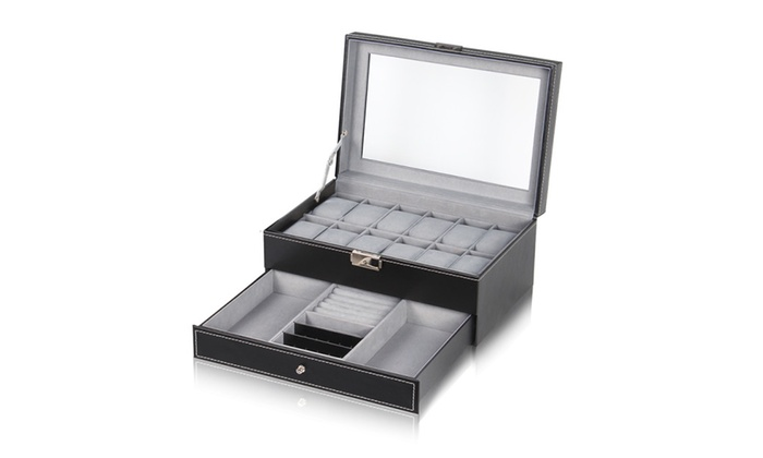 Watch Box DoubleLayer 12 Slot Organizer Case with Jewelry Tray