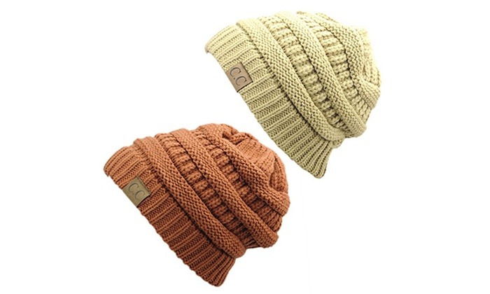 Chunky Cable Knit Beanie, Gift Set- Beige & Rust