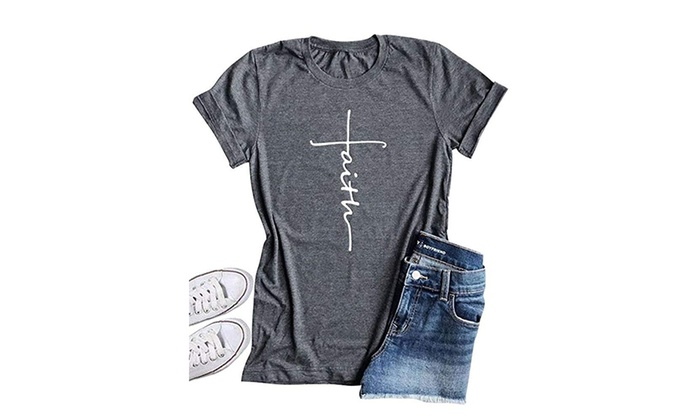 4cd232638 Up To 59% Off on Qrupoad Women Cross Faith T S... | Groupon Goods