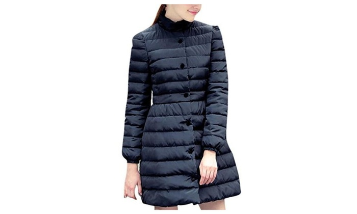 Lingswallow Women's Casual Winter Blue Quited Down Outwear Long Coat Jackets