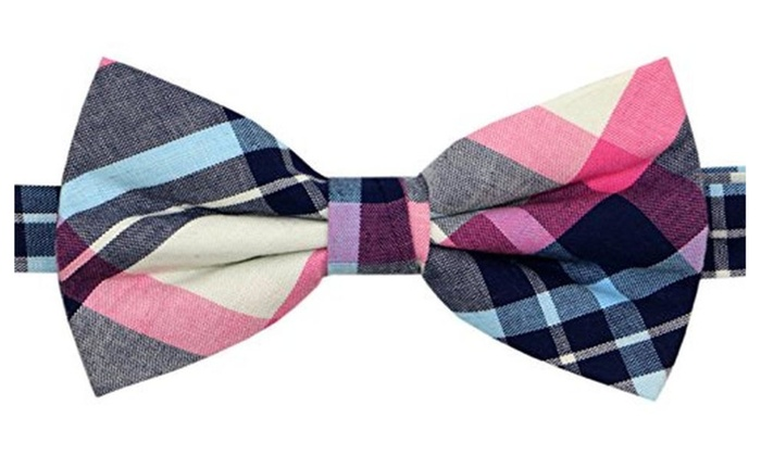 Carahere Mens 100% Cotton Color Plaid Adjustable Pre-Tied Bow Tie