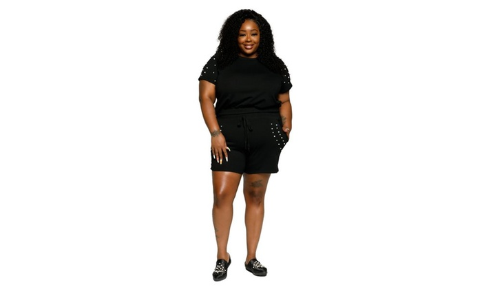 Xehar Womens Plus Size Stylish Top Shorts Outfit 2 Piece Set