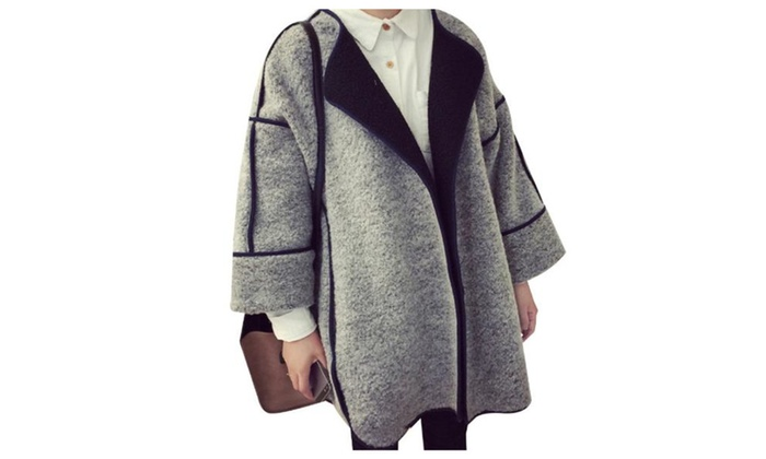 Women's Batwing sleeve Simple Solid Open Front Wool Coat