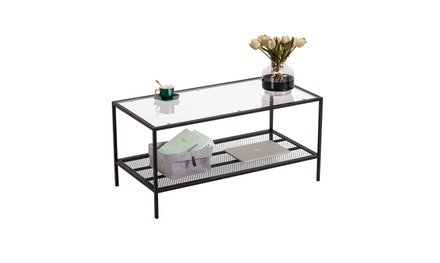 Modern Glass Coffee Table with Shelf Leg Living Room Furniture Black Home Indoor